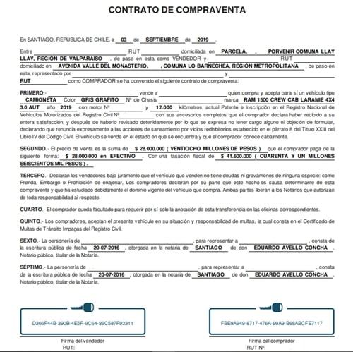 Ejemplo De Contrato De Compraventa De Auto Actualizado Marzo 2021